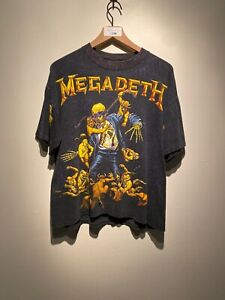 Vintage 1991 Rare Megadeath Thrashed All Over Print Brockum Band Tee Size XL