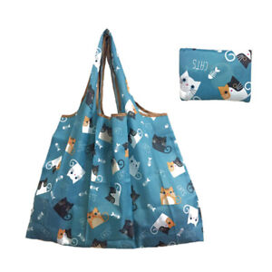 Foldable Shopping Bag Recyclable Reusable Cartoon Flower Print Grocery Tote Bag