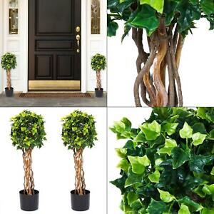 30 in. english ivy single ball topiary tree 2 pack inch fake artificial set