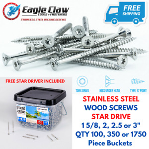 Eagle Claw Stainless Steel Deck Screws Star Drive Flat Head Various Sizes