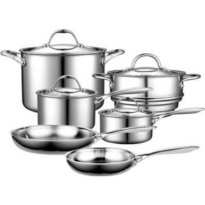 10-piece silver cookware set with lids   clad multi-ply stainless cooks standard
