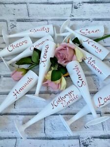 White Personalised Champagne Flutes with Rose Gold or Gold Bride Hen Party