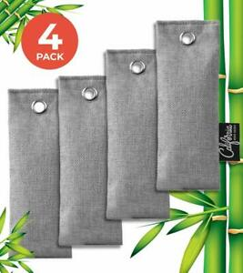 Gray Mini Bamboo Charcoal Air Purifying Bags (4-Pack), 50g