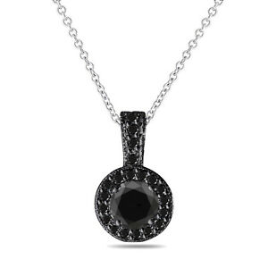 1.25 Carat Black Diamond Pendant Necklace 14K Black White Yellow Rose Gold