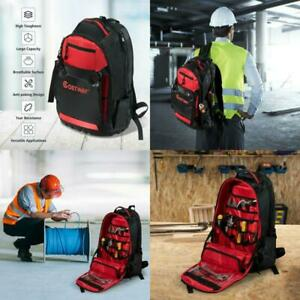 Jobsite Backpack Tool Storage Bag Heavy Duty Construction Book Bag 26 Pockets US