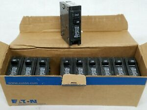 Lot of 10 Eaton BR120 Single Pole Circuit Breakers 20A Cutler Hammer Series New