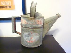Anique galvanized watering can with red paint number 4 farmhouse decor