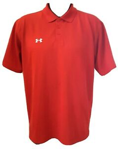 Under Armour Red Polo Golf Short Sleeve Shirt Mens M $17.95