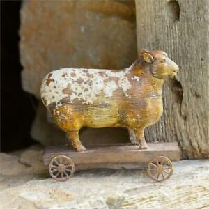 New Antique Style SHEEP ON WHEELS Primitive Farmhouse Figurine Pull Toy