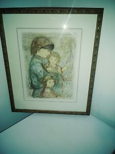 Edna Hibel Original Signed quot;Mother and Her Childrenquot; Limited Edition 29 150 NR $300.00