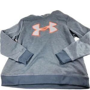 Under Armour Fleece Hoodie Charcoal Gray Quilted Logo Women's L New $26.95