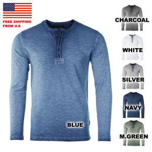 ZIMEGO Mens Long Sleeve Crew Neck Oil Wash Vintage Button Henley T Shirt $19.99