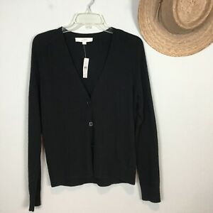 LOFT Wool Blend Cardigan Size SMALL Womens Black Button Front Sweater NWT $60 $26.95