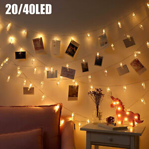 20/40LED Hanging Clip Picture Photo Card Holder Fairy String Lights Xmas Wedding