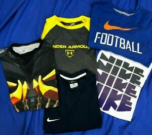 NIKE UNDER ARMOUR Lot Of 8 Youth Boys Jersey Knit DRI FIT T SHIRT HOODIE Sz L $41.76