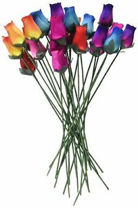 Wooden Roses 2 Dozen 24 Mixed Color Bouquet of Buds Artificial Flowers NEW