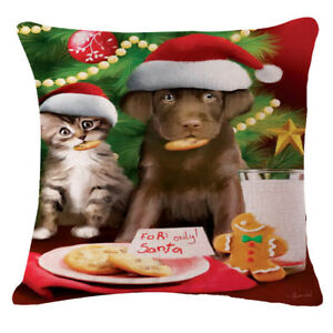 CHRISTMAS COOKIES Puppy amp; Kitty 18quot; X 18quot; PILLOW COVER