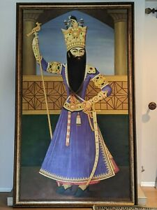 Life-Size FATH ALI SHAH Qajar oil Painting King of PERSIA IRAN art 1 of 1 EPIC
