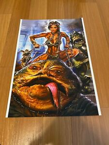 Greg Horn Comic Art Lithograph Print Star Wars Princess Leia Jabba The Hut 13x19