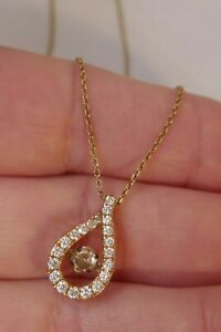 14kt Yellow Gold Necklace With Tear Drop Floating Diamond Pendant 20quot; Long