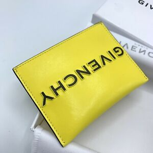 Givenchy Yellow & Black Reverse Logo Card Holder With Original Box Wallet Style