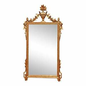 Vintage Carved Italian Gilded Neoclassical Mirror Mantle Wall Mirror $420.00