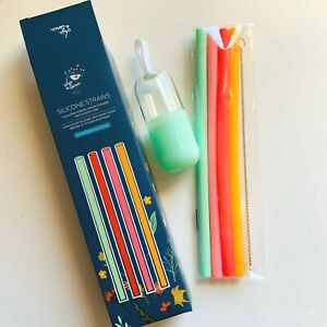 New Chic Tonic Silicone Straws Set with Case Cleaner 4 Flexible Reusable Bright