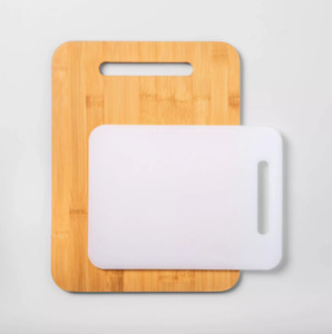 2pc Bamboo and Poly Cutting Board Set Made By Design