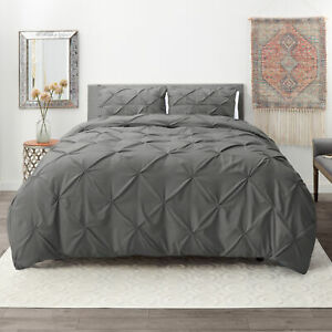 Pinch Pleated Duvet Cover Set Luxurious Premium Quality Cover for Comforter $30.99
