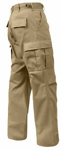 ROTHCO 2931 KHAKI MENS BDU CARGO PANTS Relaxed Fit Zipper Fly SIZES S TO 3X