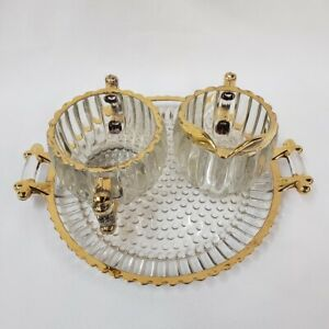 Sugar Bowl Creamer Set Tray Handled Jeanette National Hobnail Ribbed Glass Gold