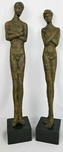 Unusual Mystery Artist Metal Sculptures He And She Arms Crossing Stone Base 21quot; $71.25