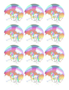 RAINBOW UNICORN Edible cookie cupcake toppers PRE CUT WAFER PAPER
