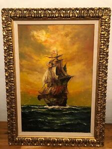 VINTAGE OIL  PAINTING SHIP AT SEA 44x32 FRAMED Gold SIGNED ? Mid Cent Modern? $299.99