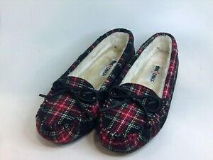 Minnetonka Womens lodge trapper Fur Closed Toe Slip On, Black tartan, Size 10.0