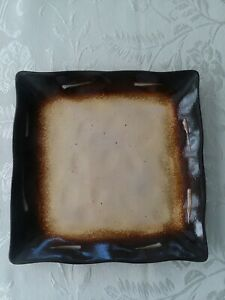 Joseph Abboud Cafe au Lait Brown and Beige Square 11 inch Dinner Plate