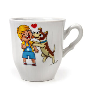 Children's Porcelain Mug with Puppy and a Child Decal by Dobrush, Belarus