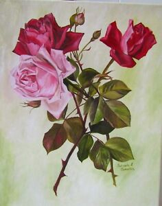 VintageVictorian Inspired Oil Painting with Long Stemmed PinkRed Cottage Roses