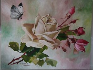 VintageVictorian Inspired WhitePink Roses with Butterfly for the Cottage Chic