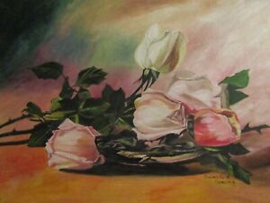 VintageVictorian Inspired Still Life with PinkWhite Cottage Roses ~ Shabby