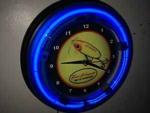 Jitterbug Fred Arbogast Fishing Lure Shop Man Cave Blue Neon Wall Clock Sign