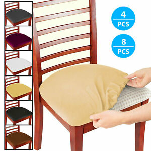 4/8Pcs Removable Elastic Stretch Slipcovers Dining Room Spandex Chair Seat Cover