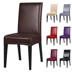 1 4 6 8 PCS Premium PU Leather Chair Covers Stretch Dining Room Seat Slipcovers $36.99