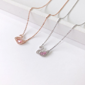 Solid 925 Sterling Silver Pink crystal swan pendant chain necklace Gift Box E21 $14.95