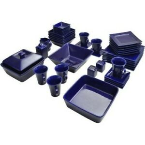 Blue Dinnerware Set Dinner Dining Banquet Square Dished Plates 45 Pc Service 6