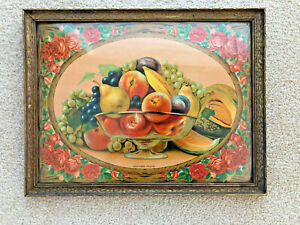 Antique Chromolithograph Southern Fruits Still Life in Period Frame