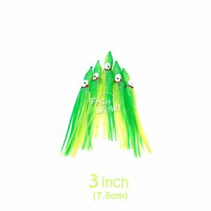 3quot; 7.5cm Squid Skirt Octopus Hoochies Fishing Soft Lures Green Chartreuse lot
