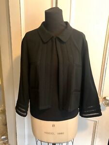 CHANEL SPRING JACKET Black Open Front Panel Insets Vintage 1990 Sz Med Authentic