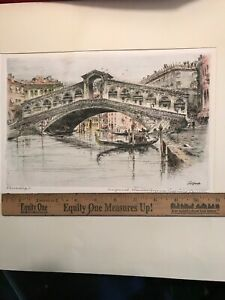 Original Signed PAUL GEISSLER Hand Colored Etching of VENICE Bridge Canal