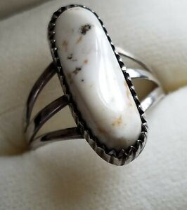 Navajo Signed Sterling White Buffalo Ring Size 8.5